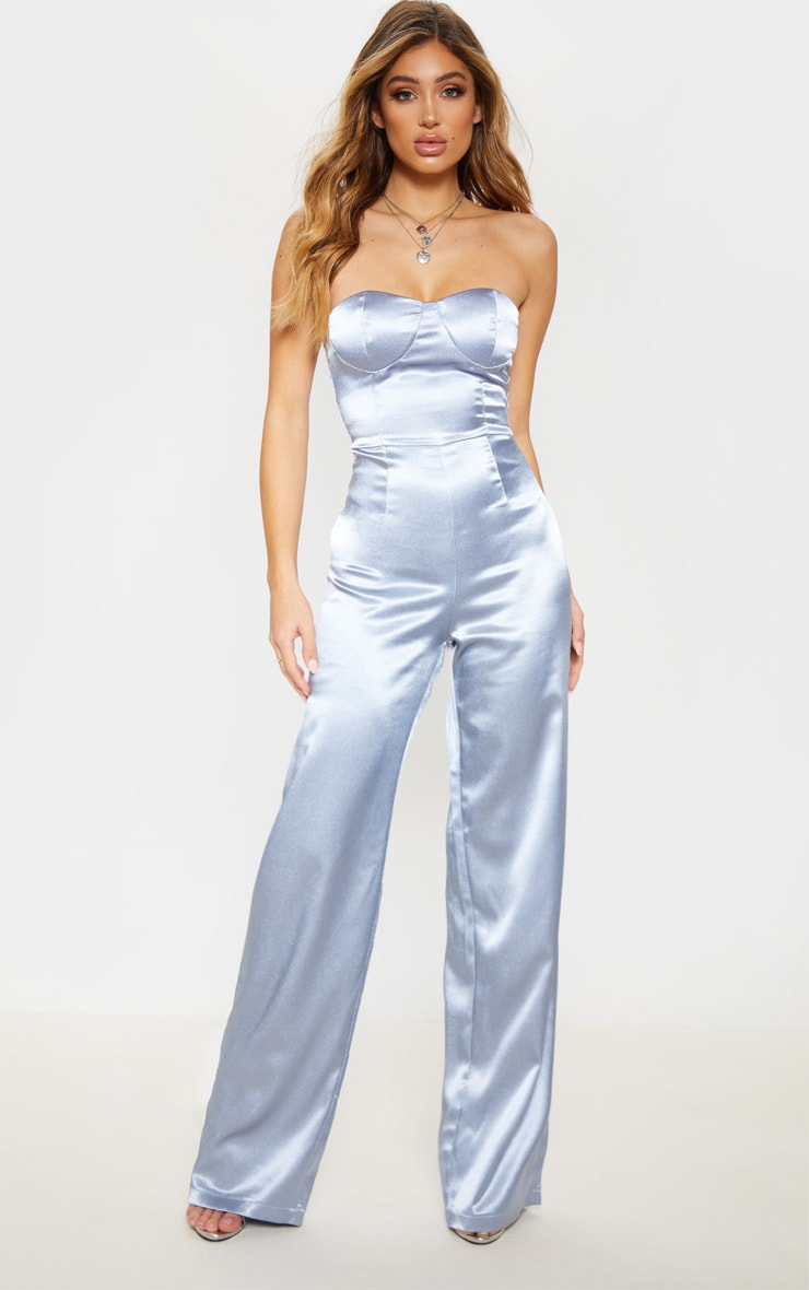 Dusty Blue Satin Bandeau Wide Leg Jumpsuit 1