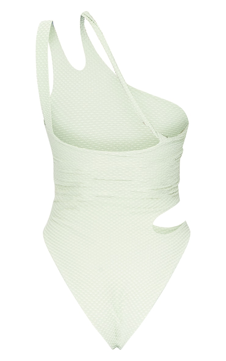 Sage Green Waffle Texture Cut Out Swimsuit 5