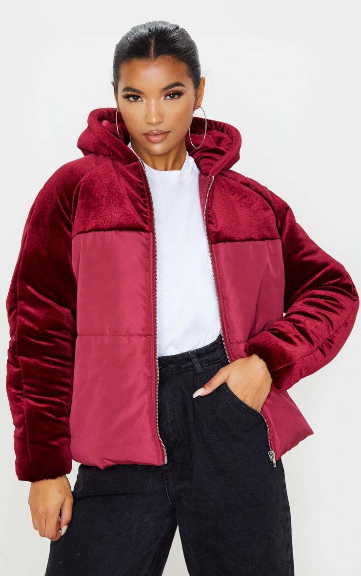 Burgundy Velvet Contrast Puffer Coat by Prettylittlething