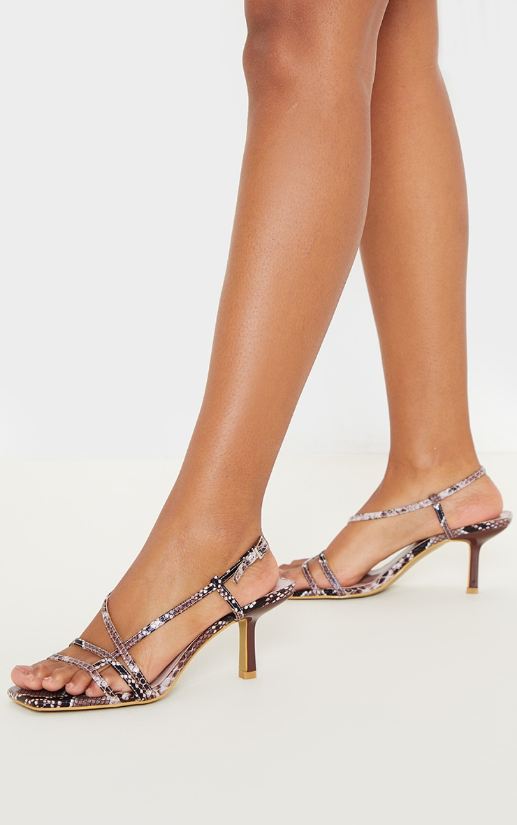 Snake Low Heel Strappy Sandal 1