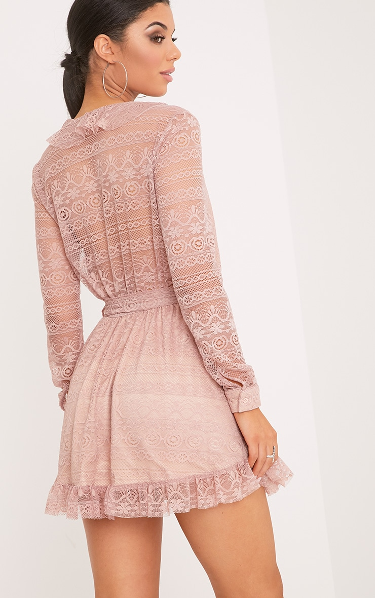 Kamini Dusty Pink Lace Frill Wrap Over Shift Dress  2