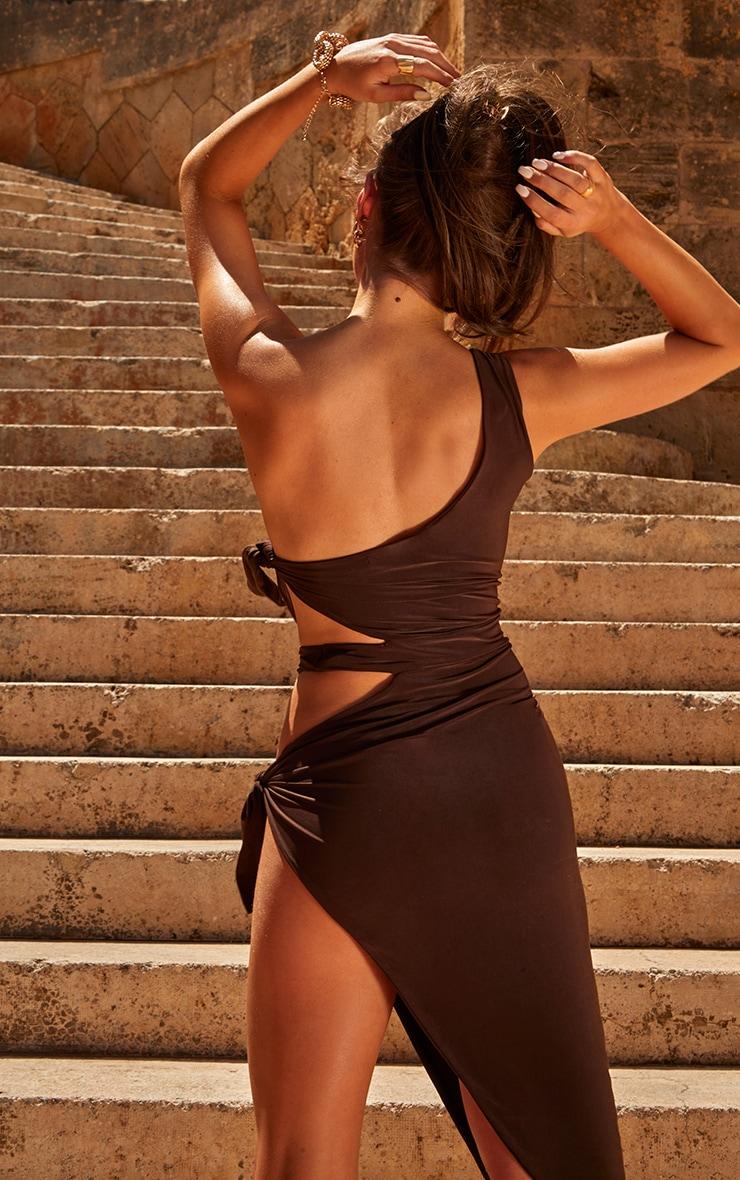 Chocolate One Shoulder Tie Side Midi Dress 4