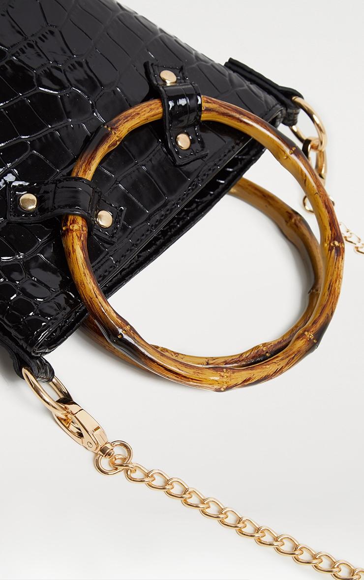 Black Patent Croc Bamboo Bucket Bag 3
