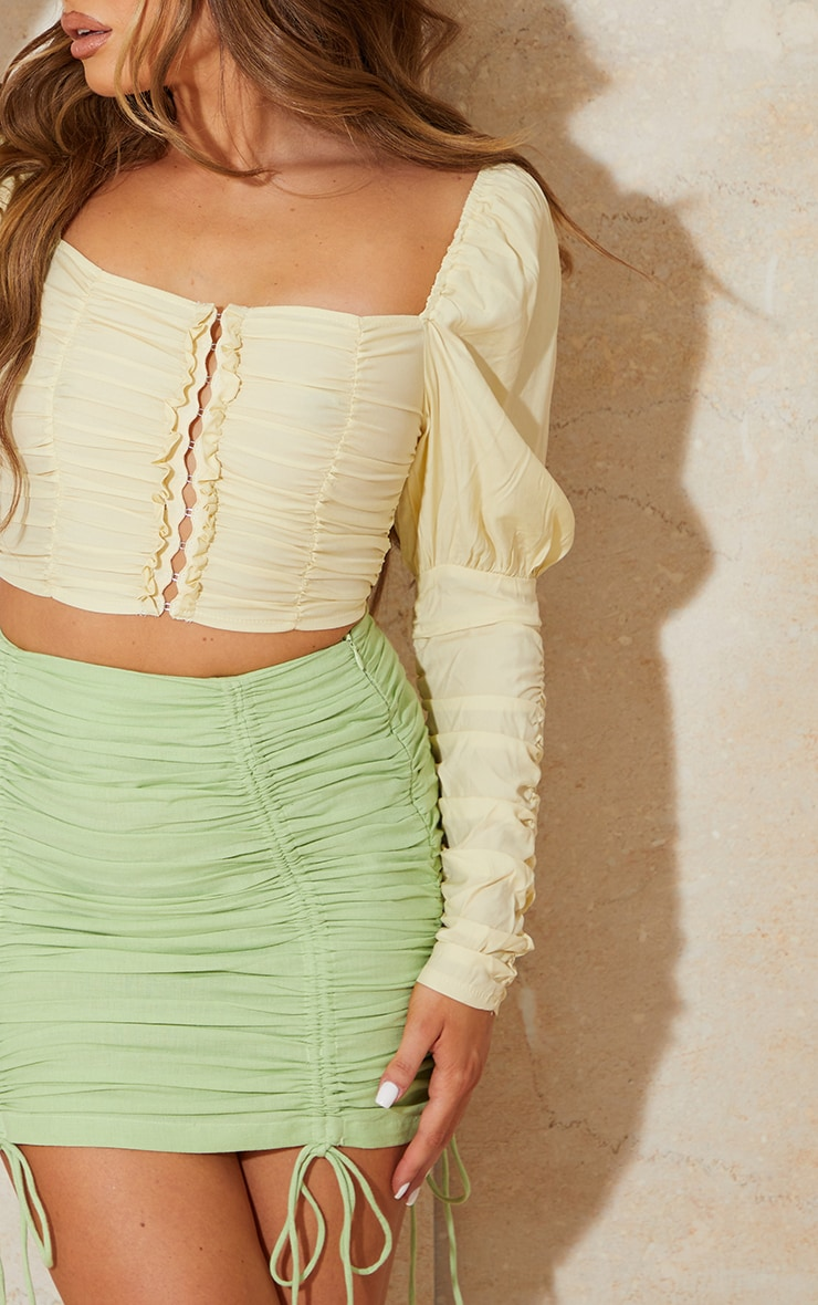 Lemon Woven Multi Ruched Hook And Eye Puff Sleeve Crop Top 4