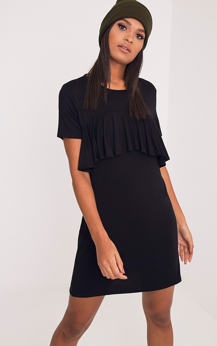 Sharley Black Ruffle Detail T-Shirt Dress 1