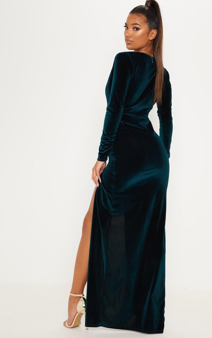 Emerald Green Velvet Plunge Split Leg Maxi Dress 3