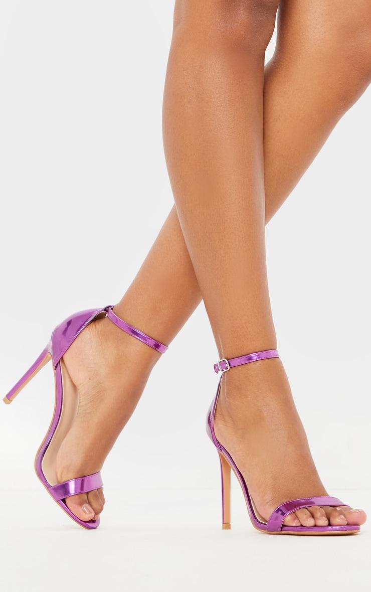 Purple Metallic Clover Heeled Sandals 1