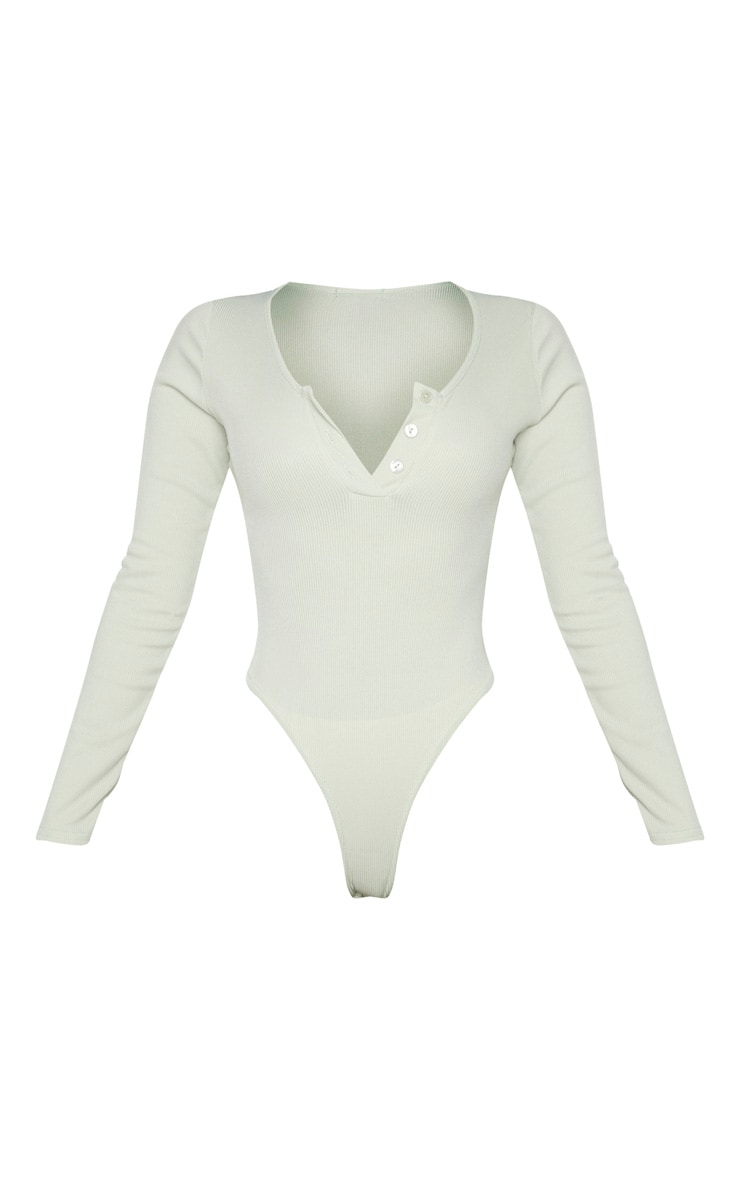 Shape Sage Green Ribbed Long Sleeve Bodysuit 5
