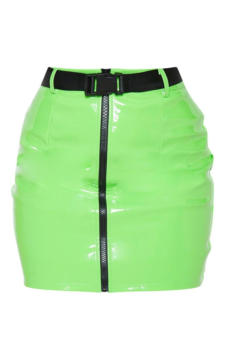 Petite Neon Green Vinyl Zip Front Belted Mini Skirt 3