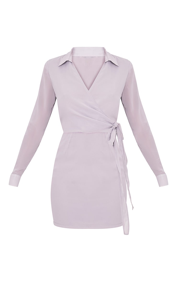 Dory Ice Grey Tie Waist Chiffon Shift Dress 3