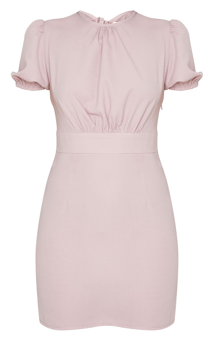 Blush Woven Cut Out Tie Back Puff Sleeve Bodycon Dress 5