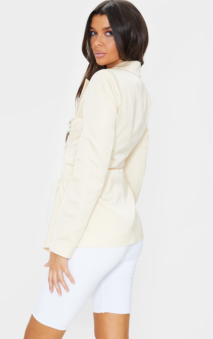 Cream Lace Front Fitted Waist Longline Blazer 2