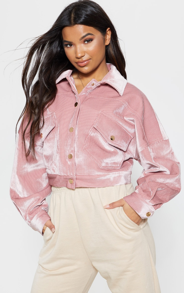 Pink Cropped Cord Oversized Trucker Jacket 5