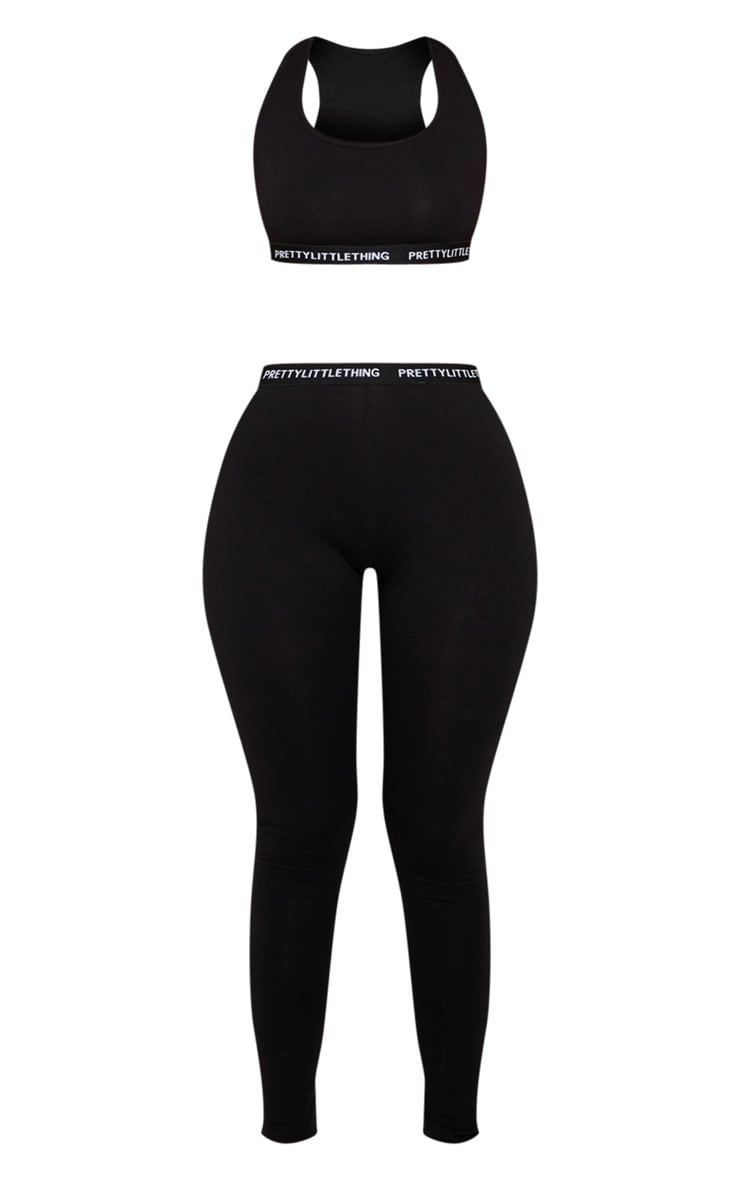 PRETTYLITTLETHING Black Bralet and Legging Pj Set 3