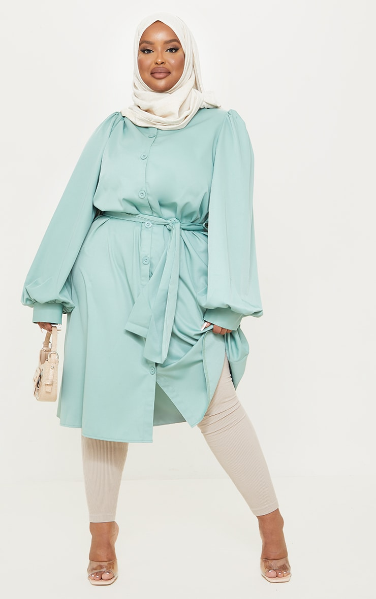 Plus Sage Green Wrap Front Puff Sleeve Shirt Dress 1
