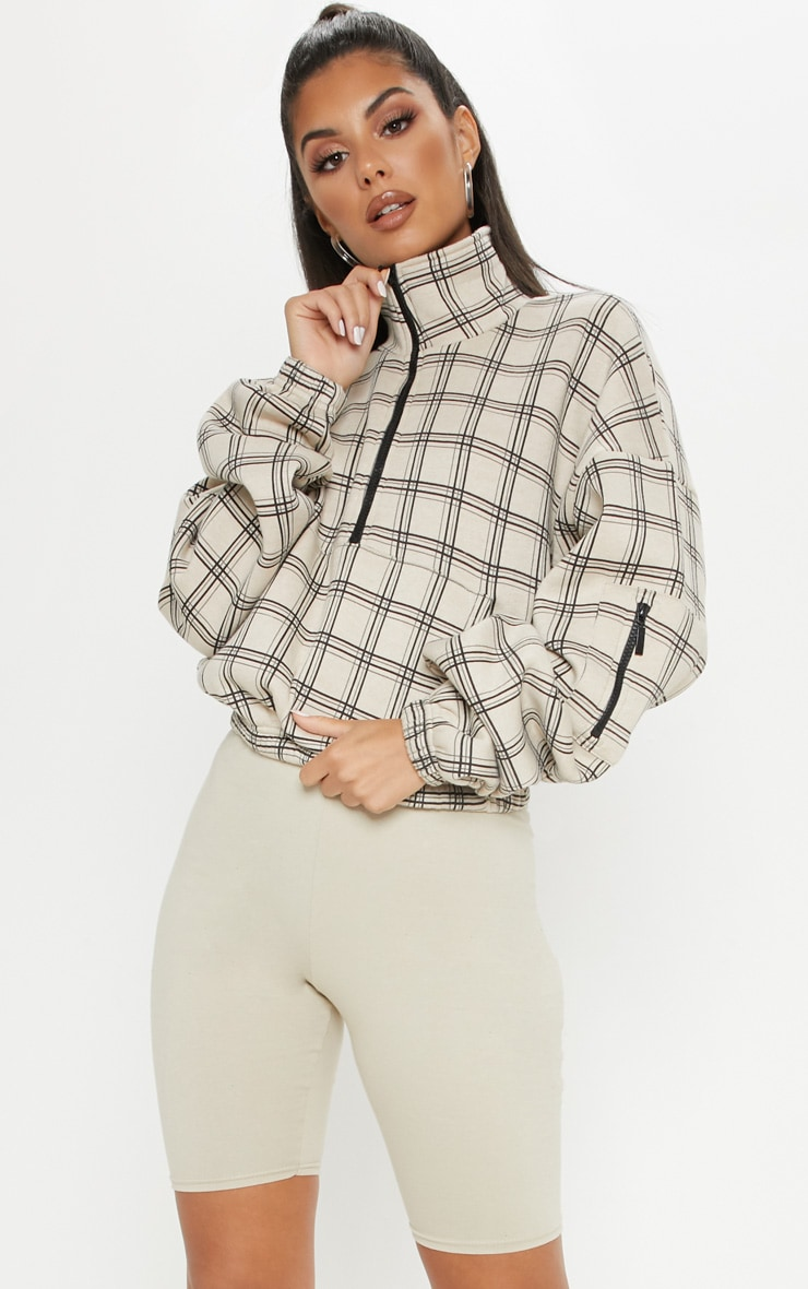 Brown Check Oversized Zip Front Sweatshirt 1