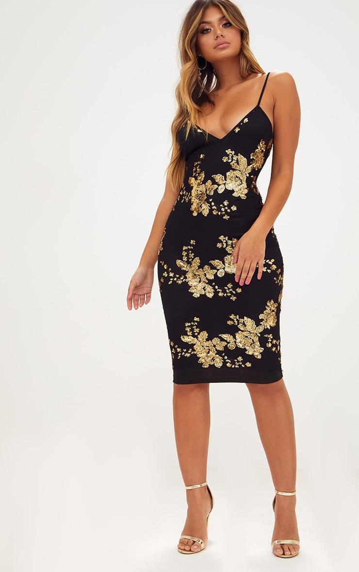 Black Sequin Strappy Plunge Midi Dress 4