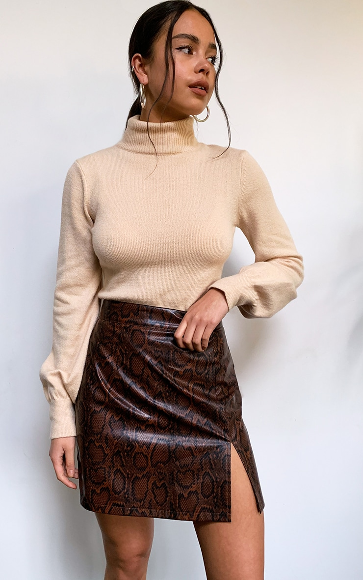 Brown Snake Faux Leather Split Front Mini Skirt 4