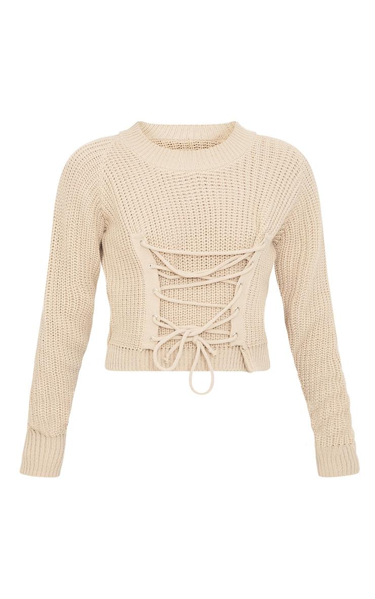 Stone Corset Crop Knit Jumper 3