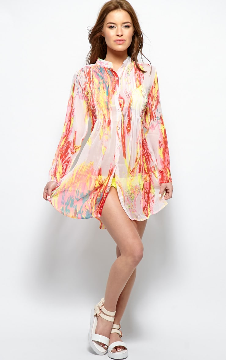 Riya Yellow Fluro Splash Chiffon Shirt 4