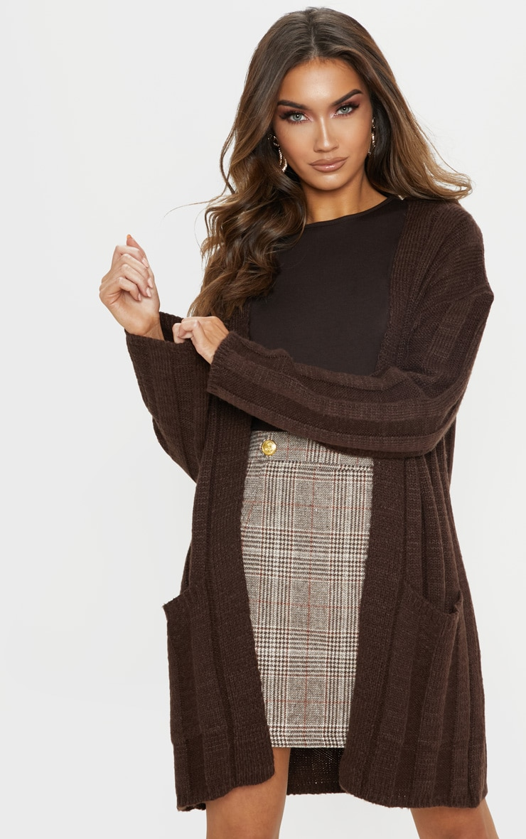Chocolate Chunky Ribbed Laguna Knit Cardigan  1