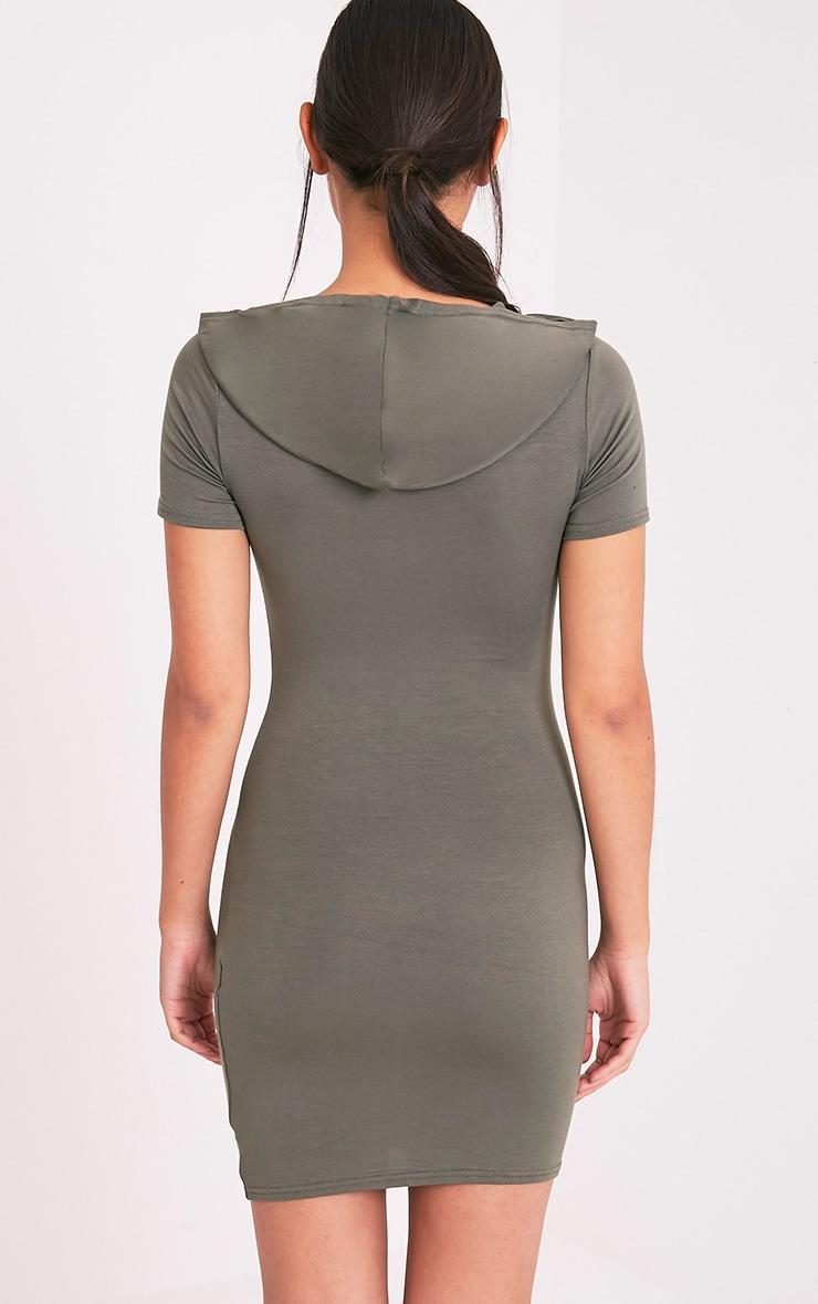 Ruby Khaki Jersey Hooded Short Sleeve Bodycon Dress 2