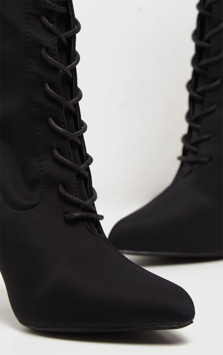 Black Lace Up Front Sock Boots 4