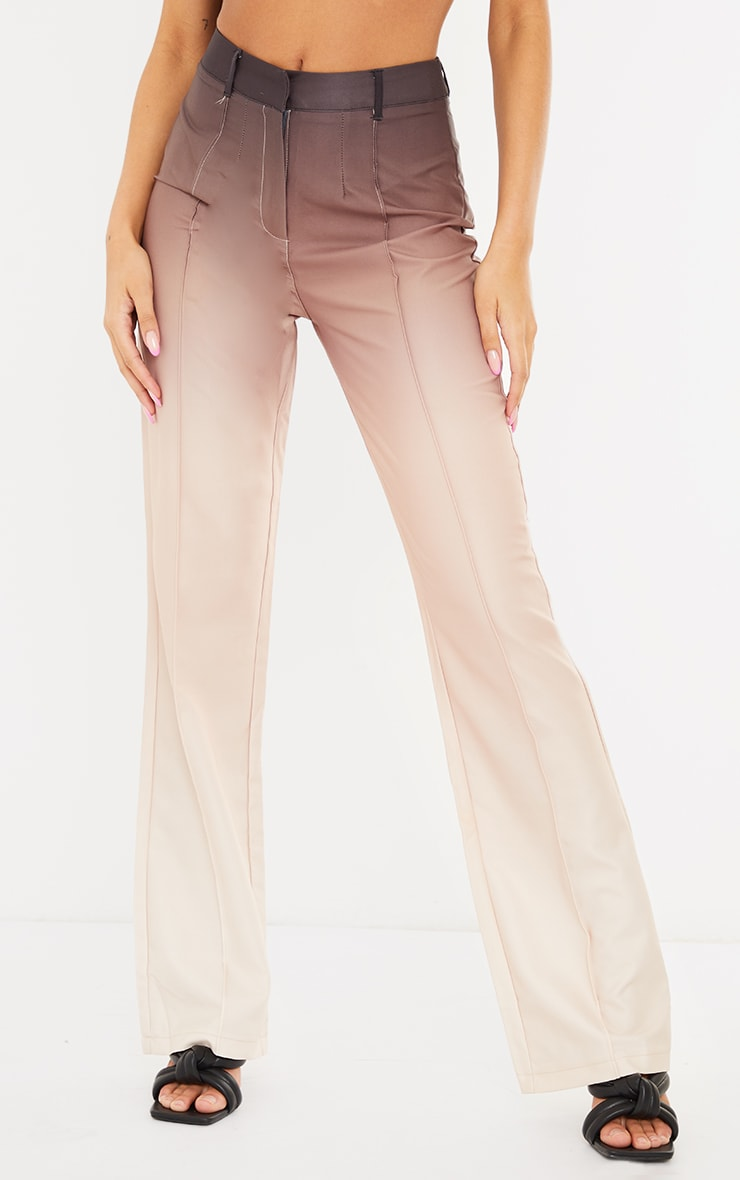 Taupe Ombre Woven Straight Leg Tailored Pants 2