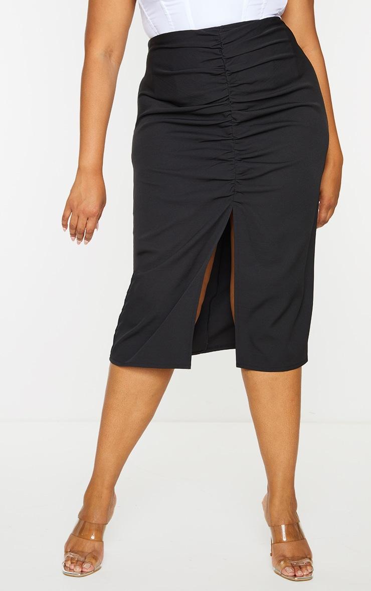 Plus Black Ruched Detail Split Skirt 2