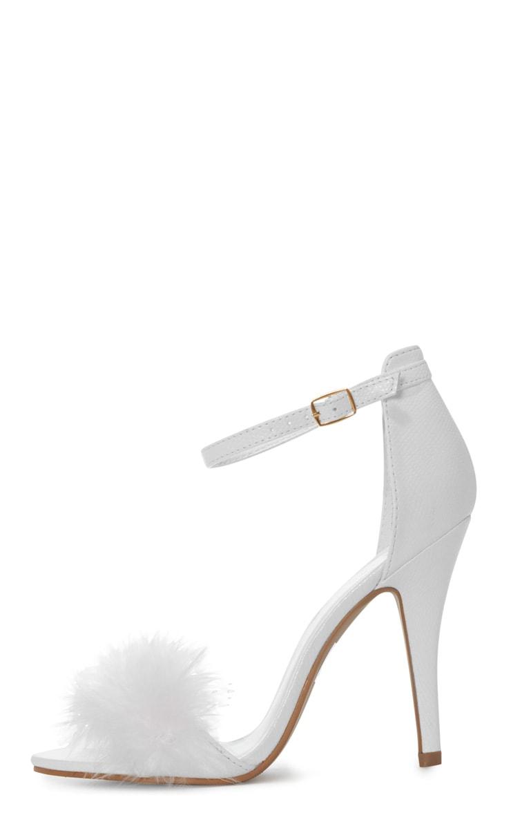 Saskia White Leather Fluffy Strappy Heeled Sandals 1