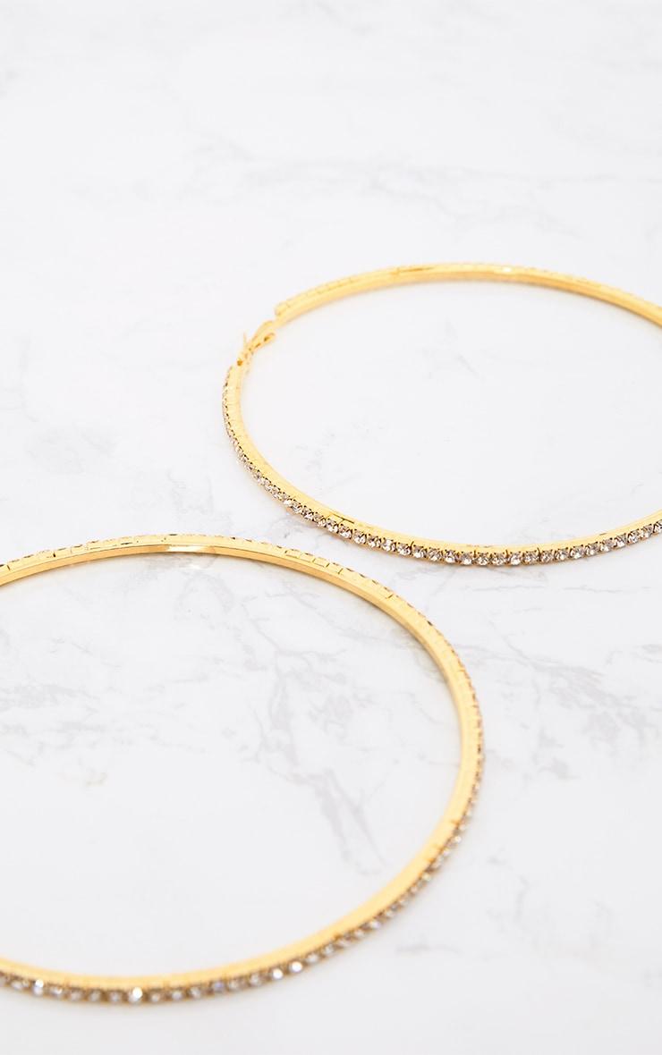 Gold Oversized Diamante Hoop Earrings 4