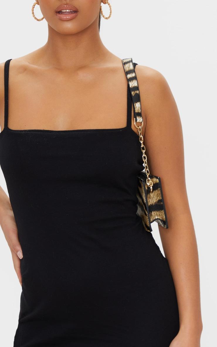 Petite Black Cotton Jersey Square Neck Mini Dress 4