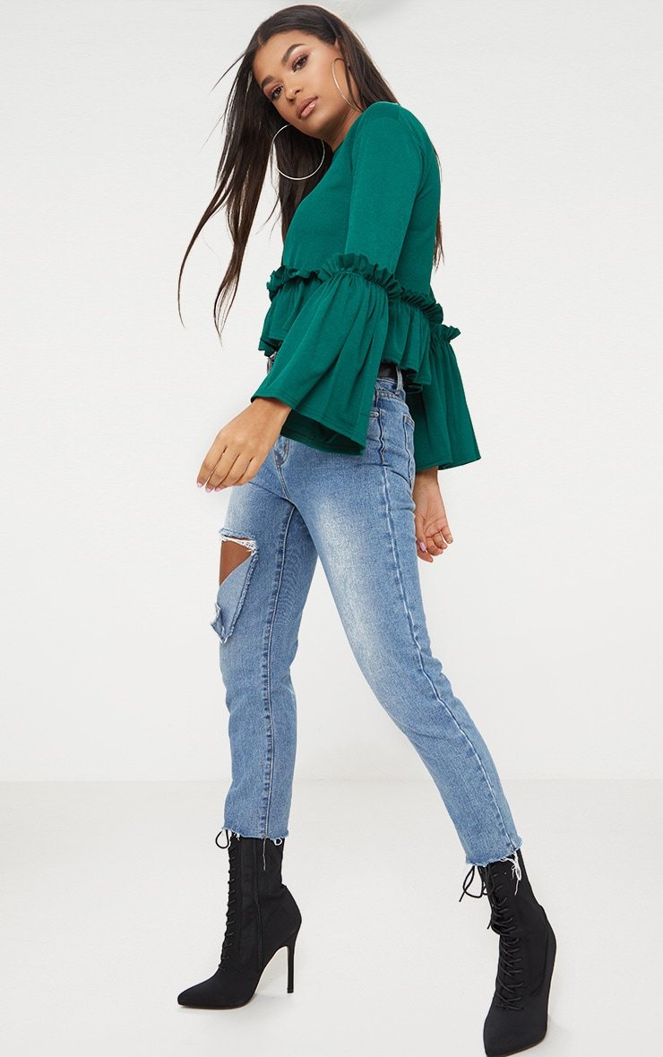 Emerald Green Frill Sleeve Top  4