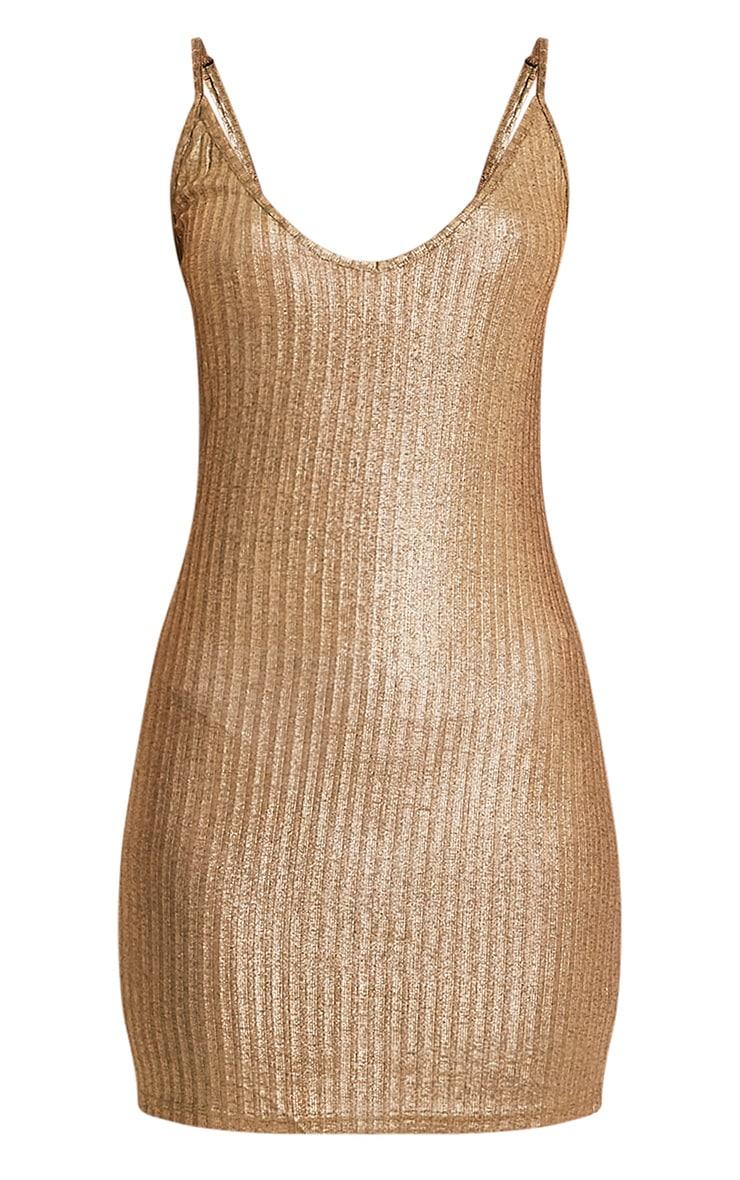 Abbygail robe mini en maille côtelée or métallisé 3