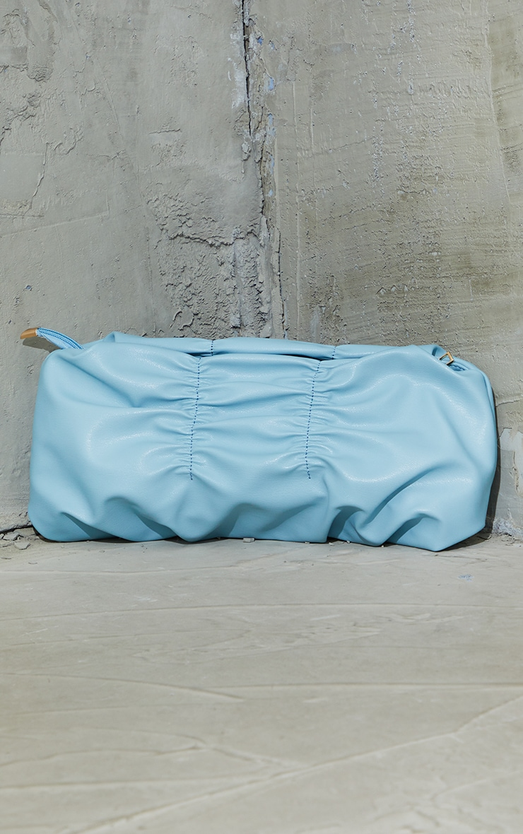 Dusky Blue Pleated Front Oversized Clutch Bag 2