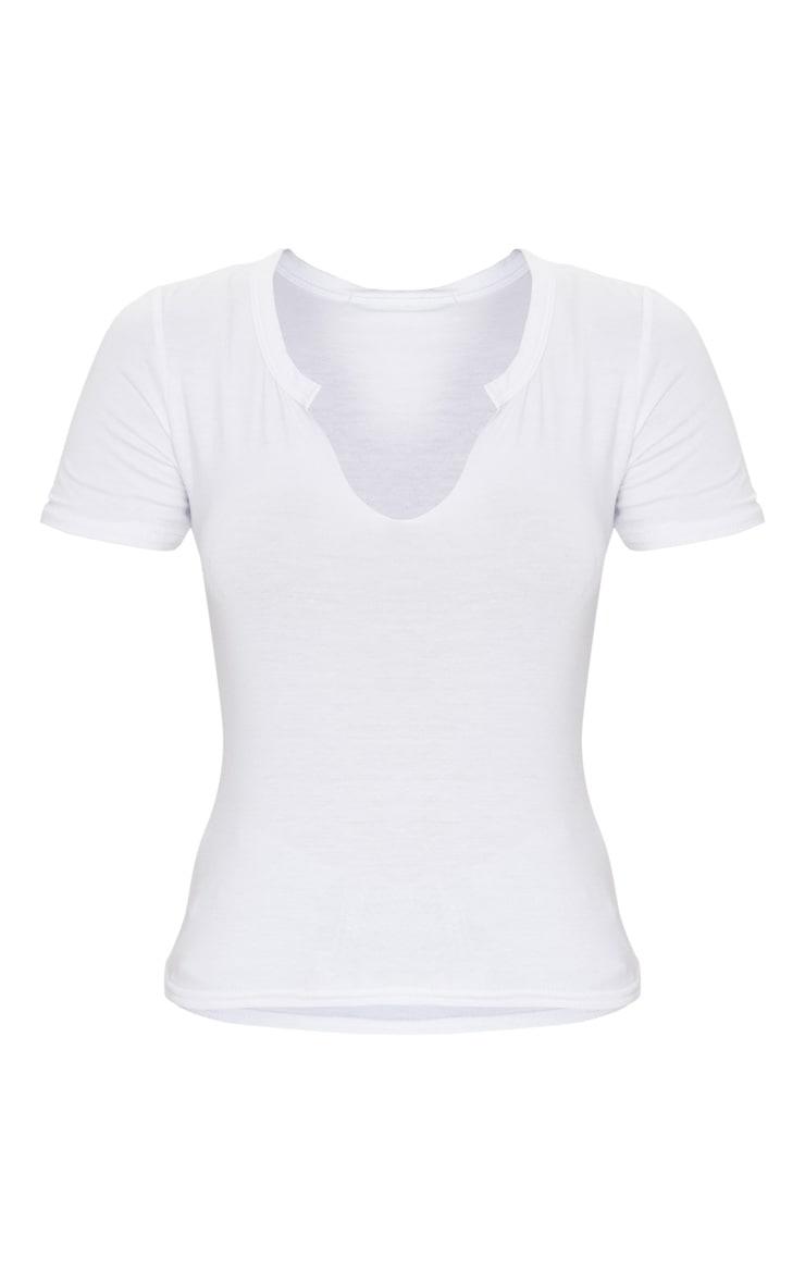 White Jersey V Short Sleeve T Shirt 3
