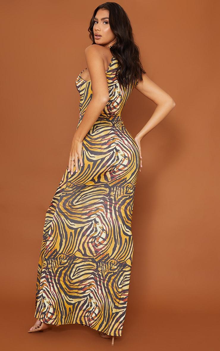 Tall  Brown Tiger Print Marble Print Slinky Cut Out  Maxi Dress 2