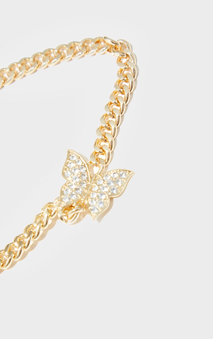 Gold Chunky Chain Double Diamante Butterfly Necklace 4