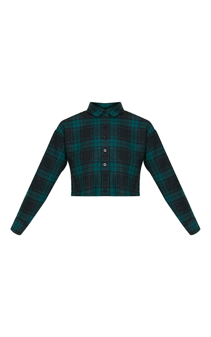 Giselle Green Checked Raw Hem Cropped Shirt 3
