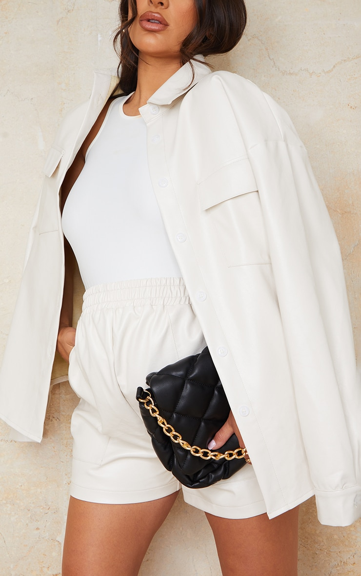 Maternity Cream Faux Leather Pocket Detail Shirt 4