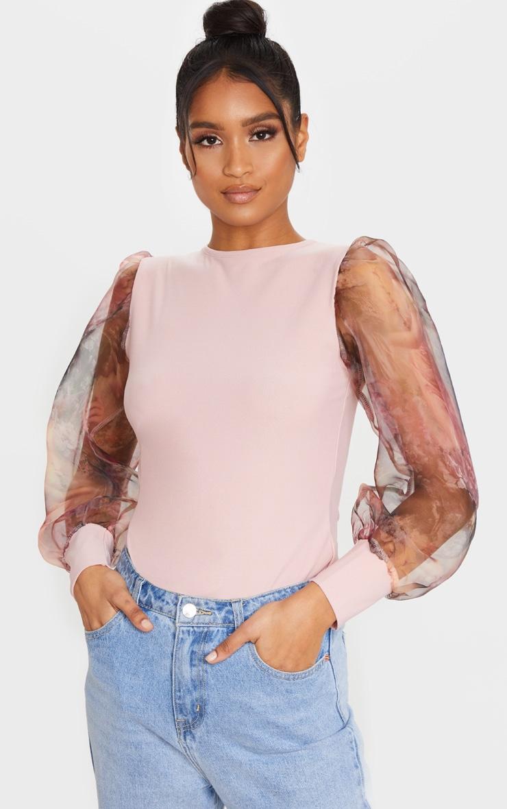Blush Printed Organza Long Sleeve Top 1