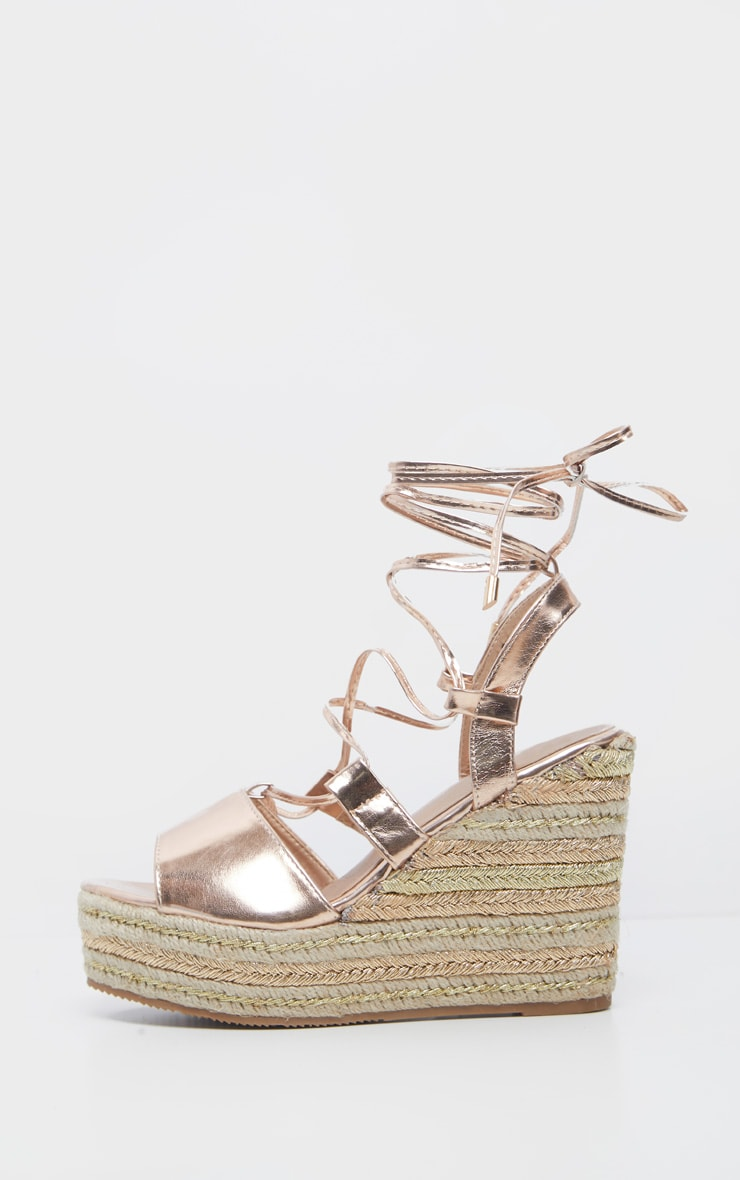 Rose Gold Ghillie Lace Up Espadrille Wedge Sandal 3