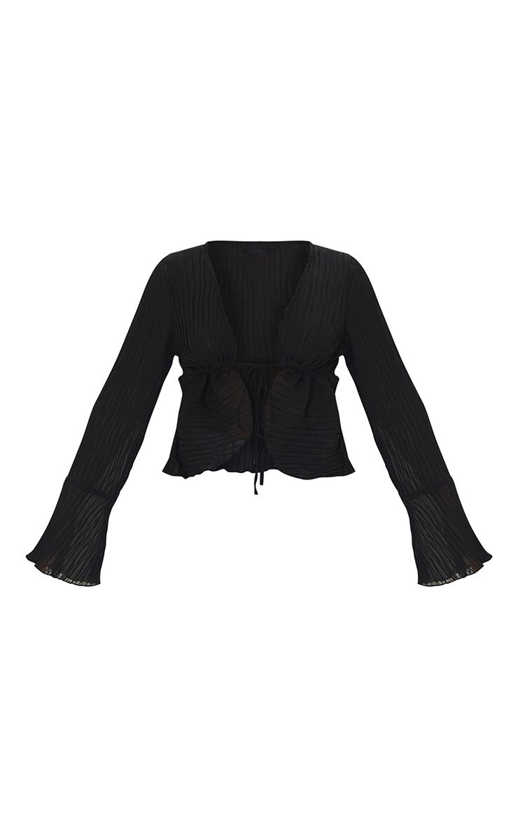 Black Sheer Plisse Tie Front Flute Sleeve Blouse 5
