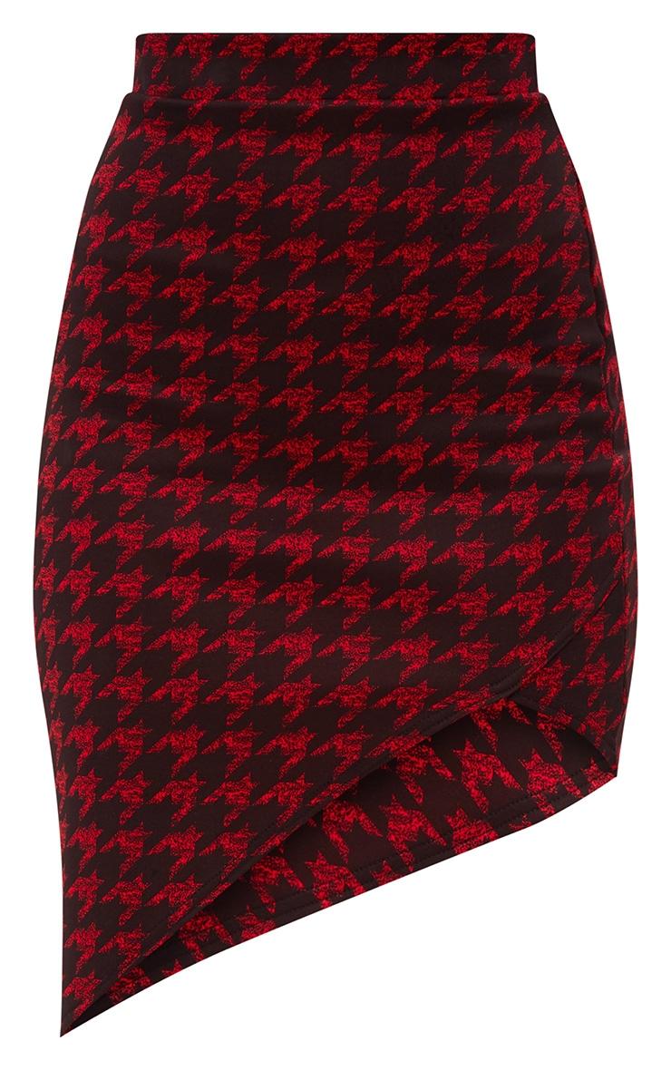 Red Dogtooth Asymmetric Hem Midi Skirt 3