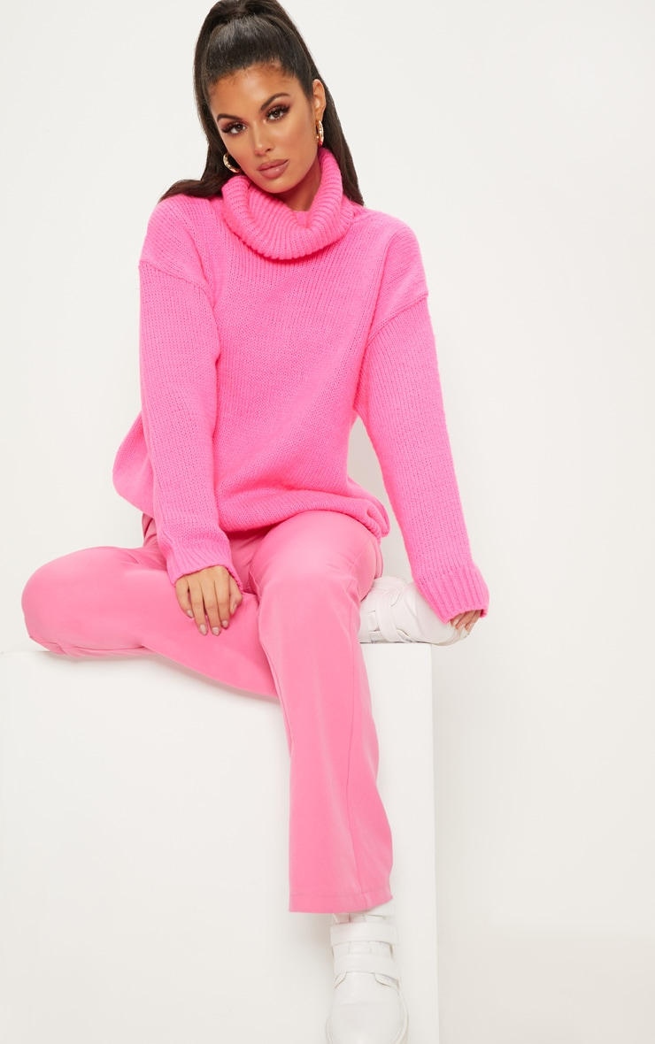 Hot Pink High Neck Fluffy Knit Sweater  4