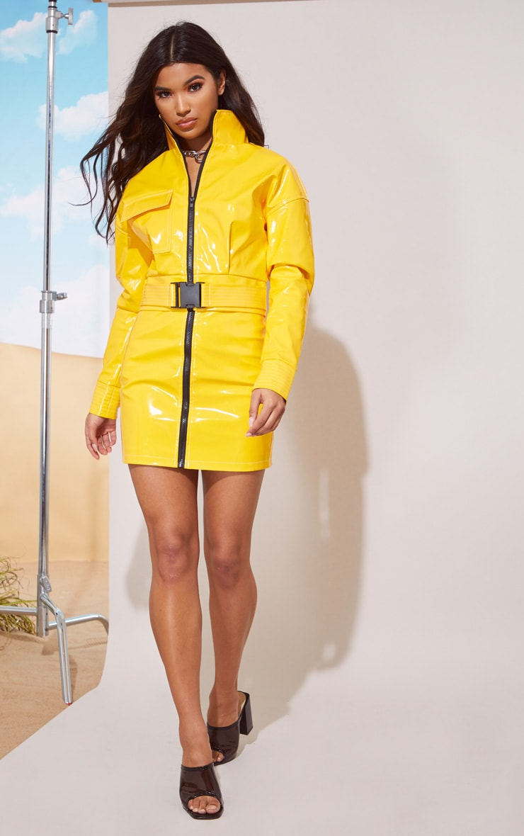 Yellow Vinyl Zip Detail Mini Skirt 6