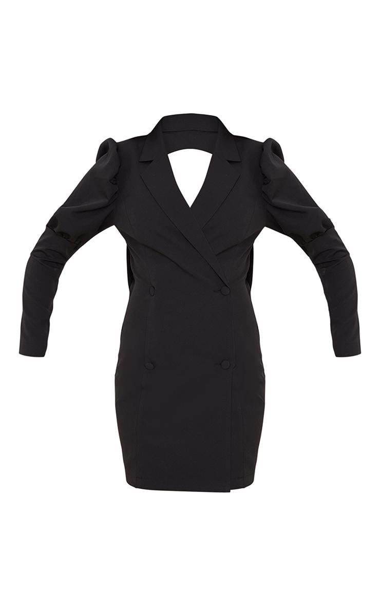 Black Bow Detail Open Back Blazer Dress 5