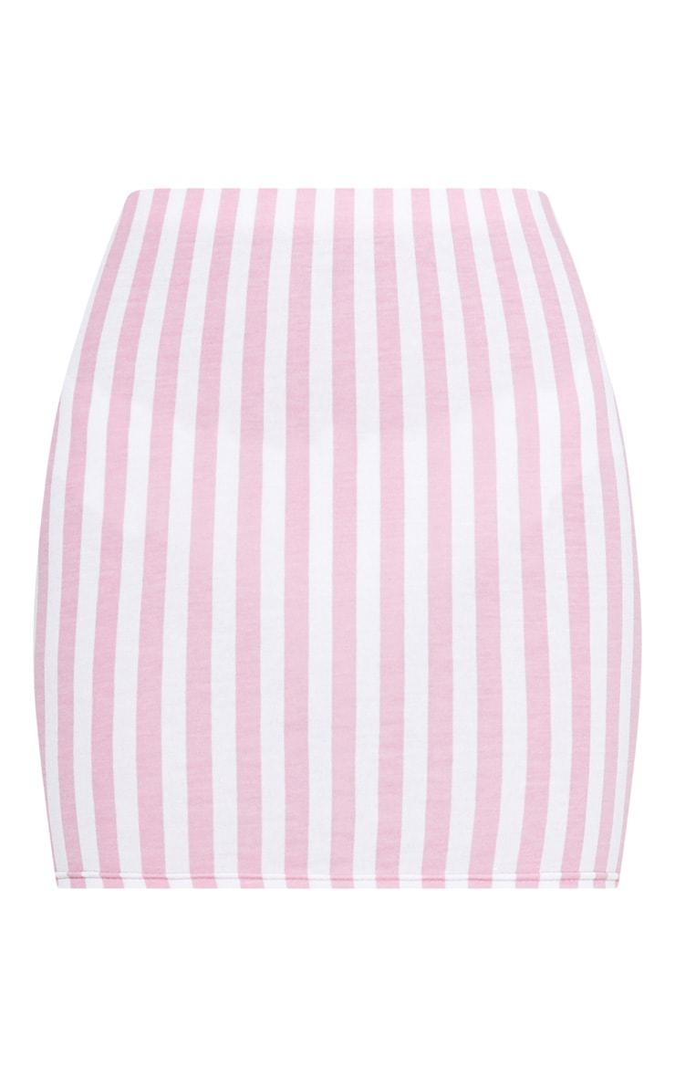 Pink Jersey Stripe Mini Skirt 3