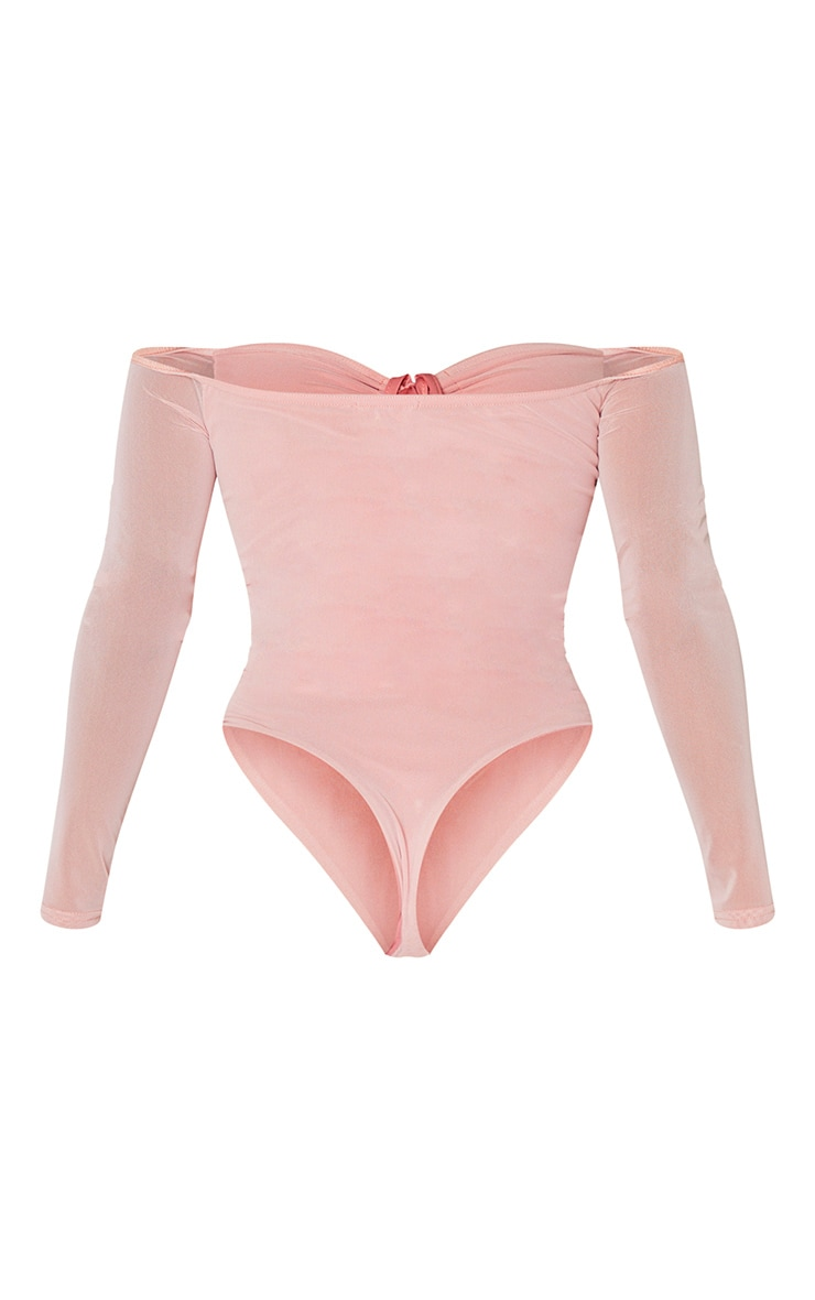 Shape Dusty Pink Mesh Long Sleeve Ruched Bodysuit 4