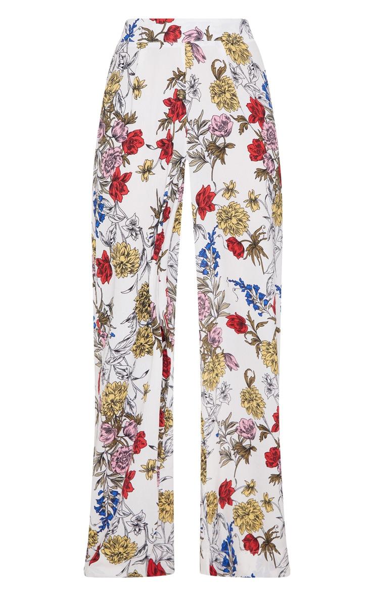 Pantalon ample blanc imprimé floral 3